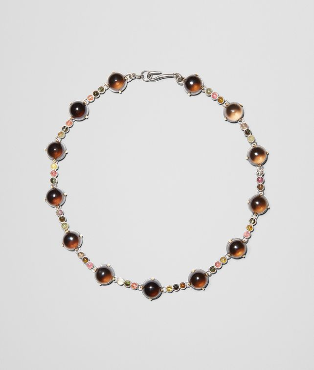 BOTTEGA VENETA NECKLACE IN SILVER, SMOKY QUARTZ AND TOURMALINE STONES WITH YELLOW GOLD ACCENTS Necklace Woman fp