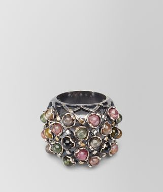 RING IN SILVER AND TOURMALINE STONES WITH YELLOW GOLD ACCENTS