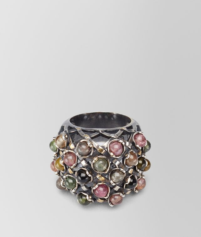BOTTEGA VENETA RING IN SILVER AND TOURMALINE STONES WITH YELLOW GOLD ACCENTS Ring Woman fp