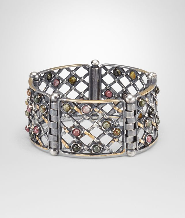 BOTTEGA VENETA BRACELET IN SILVER AND TOURMALINE STONES WITH YELLOW GOLD ACCENTS Bracelet D fp