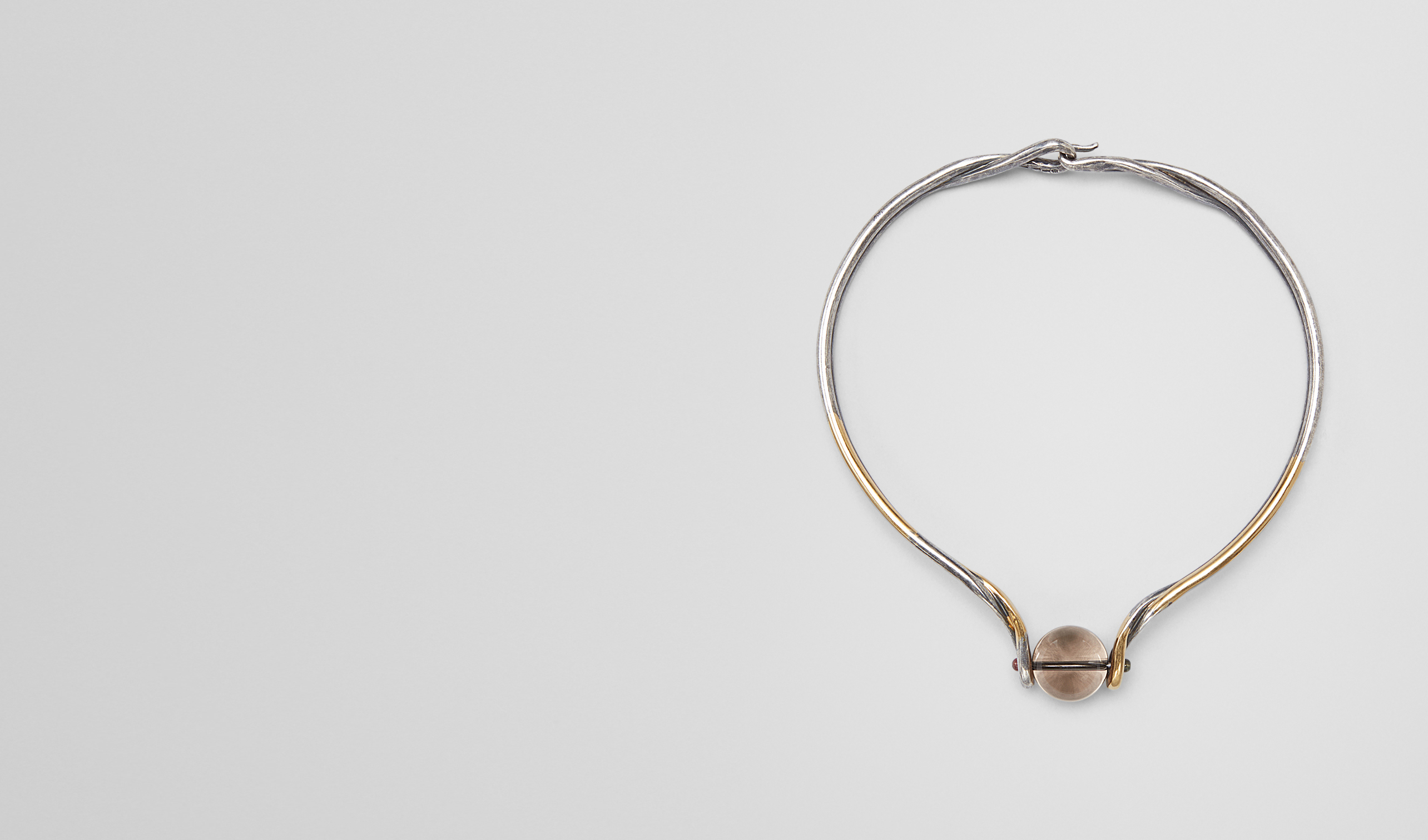 BOTTEGA VENETA Necklace D NECKLACE IN SILVER, SMOKY QUARTZ AND TOURMALINE STONES WITH YELLOW GOLD ACCENTS pl