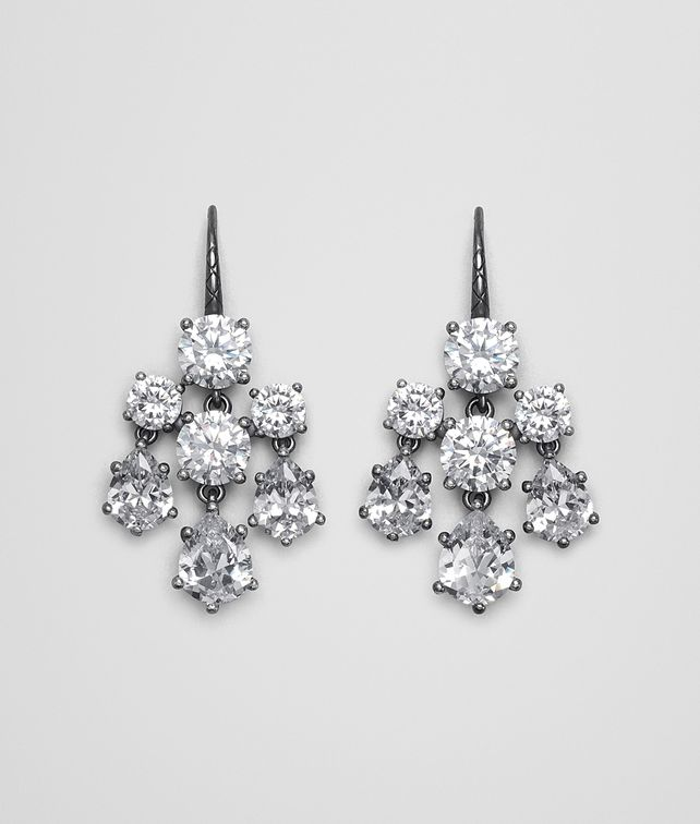 BOTTEGA VENETA EARRINGS SILVER AND NATURALE CUBIC ZIRCONIA Earrings Woman fp
