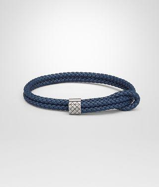海洋蓝编织小羊皮和银质手链