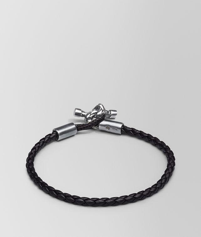 BOTTEGA VENETA BRACELET IN NERO INTRECCIATO NAPPA AND SILVER Bracelet Woman fp