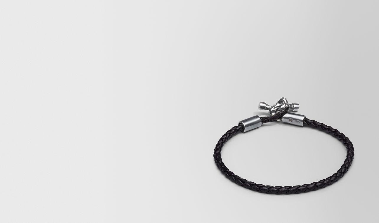 bracelet en intrecciato nappa nero et argent landing