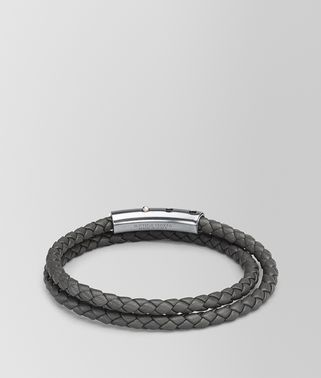 BRACELET IN NEW LIGHT GREY INTRECCIATO NAPPA AND STERLING SILVER