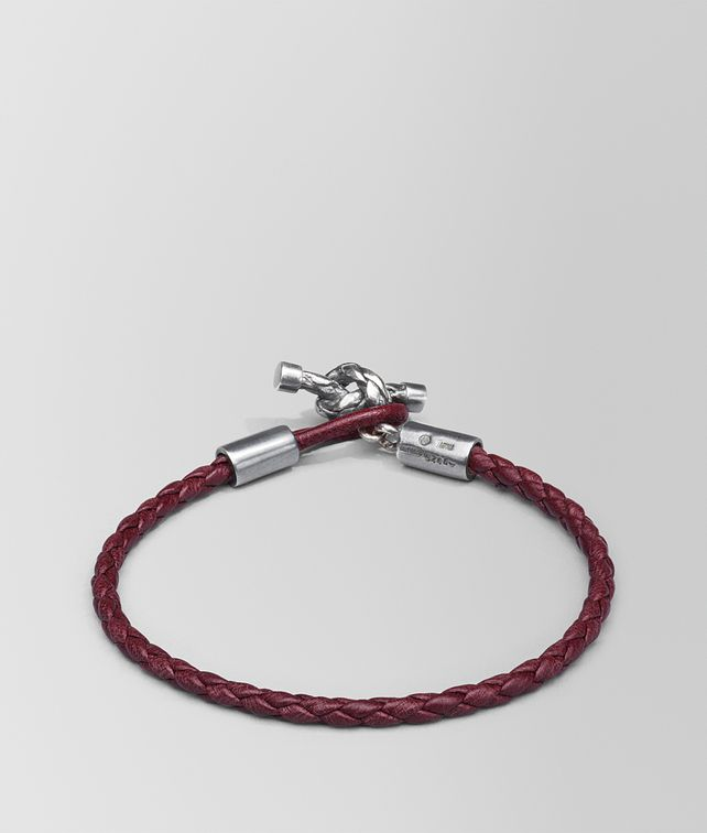 BOTTEGA VENETA BRACELET IN BAROLO INTRECCIATO NAPPA AND SILVER Bracelet Woman fp