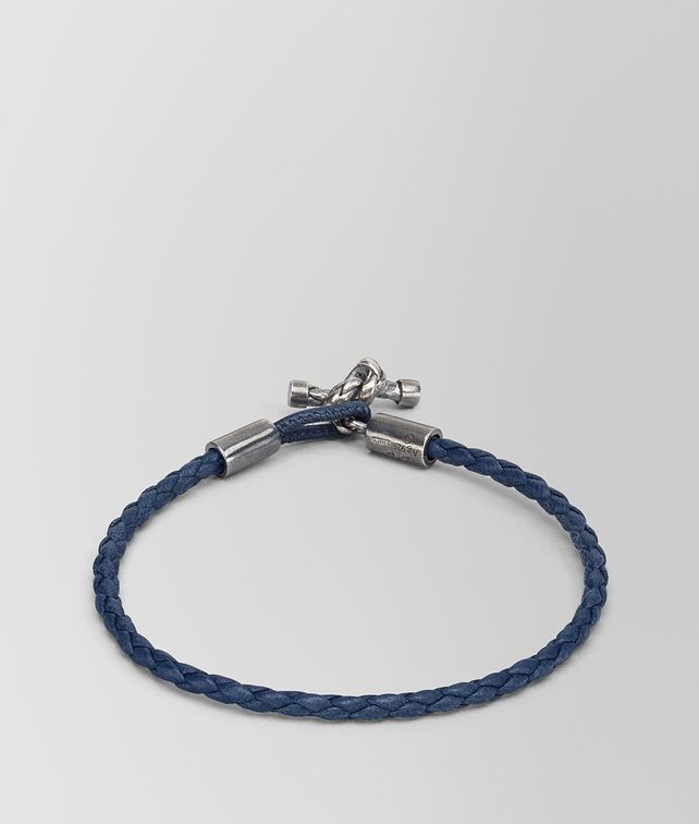 BOTTEGA VENETA BRACELET IN PACIFIC INTRECCIATO NAPPA AND SILVER Bracelet Woman fp