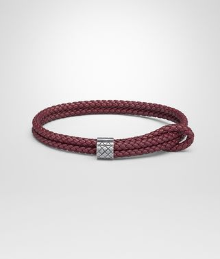 BRACELET IN BAROLO INTRECCIATO NAPPA AND STERLING SILVER