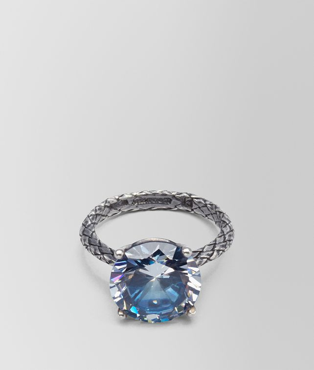 BOTTEGA VENETA RING SILVER AND NATURALE PEACOCK CUBIC ZIRCONIA, INTRECCIATO DETAIL Ring D fp