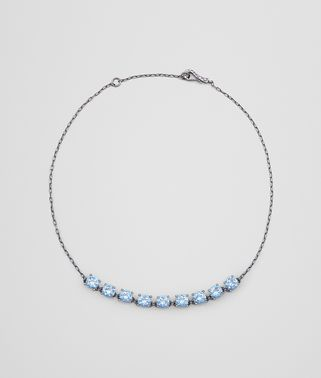 NECKLACE IN SILVER AND NATURAL PEACOCK CUBIC ZIRCONIA, INTRECCIATO DETAIL