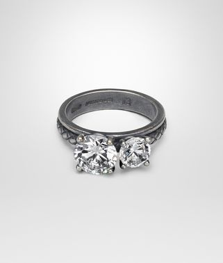 RING IN SILVER AND NATURAL CUBIC ZIRCONIA, INTRECCIATO DETAIL