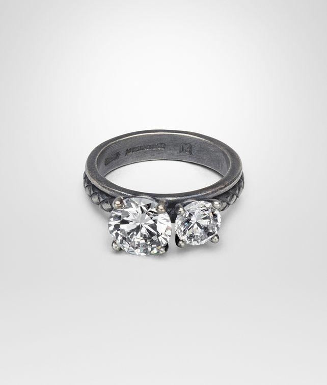 BOTTEGA VENETA RING SILVER AND NATURALE CUBIC ZIRCONIA, INTRECCIATO DETAIL Ring Woman fp