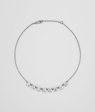 NECKLACE SILVER AND NATURALE CUBIC ZIRCONIA, INTRECCIATO DETAIL