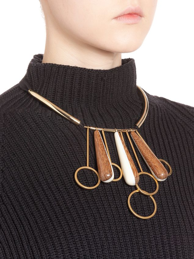Marni Necklace in resin, metal and wood Woman - 3