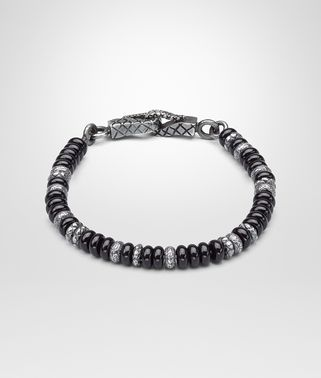 BRACELET IN SILVER AND ONYX STONES WITH INTRECCIATO DETAILS