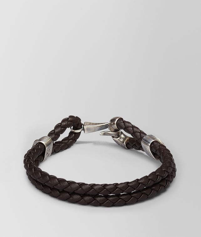 BOTTEGA VENETA BRACELET IN ESPRESSO INTRECCIATO NAPPA AND SILVER Bracelet Man fp