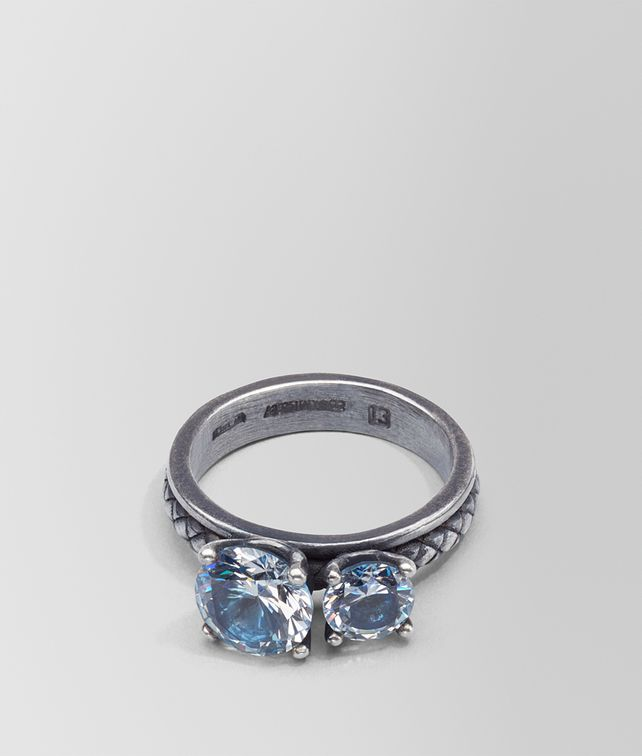 BOTTEGA VENETA RING IN SILVER AND NATURAL PEACOCK CUBIC ZIRCONIA, INTRECCIATO DETAIL Ring D fp