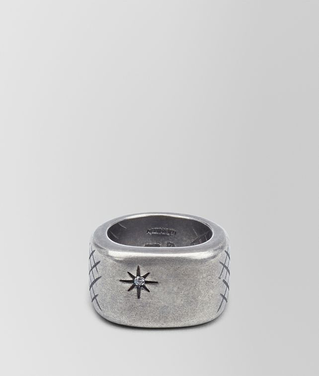 BOTTEGA VENETA RING IN SILVER AND NATURALE CUBIC ZIRCONIA WITH INTRECCIATO DETAILS Ring [*** pickupInStoreShippingNotGuaranteed_info ***] fp