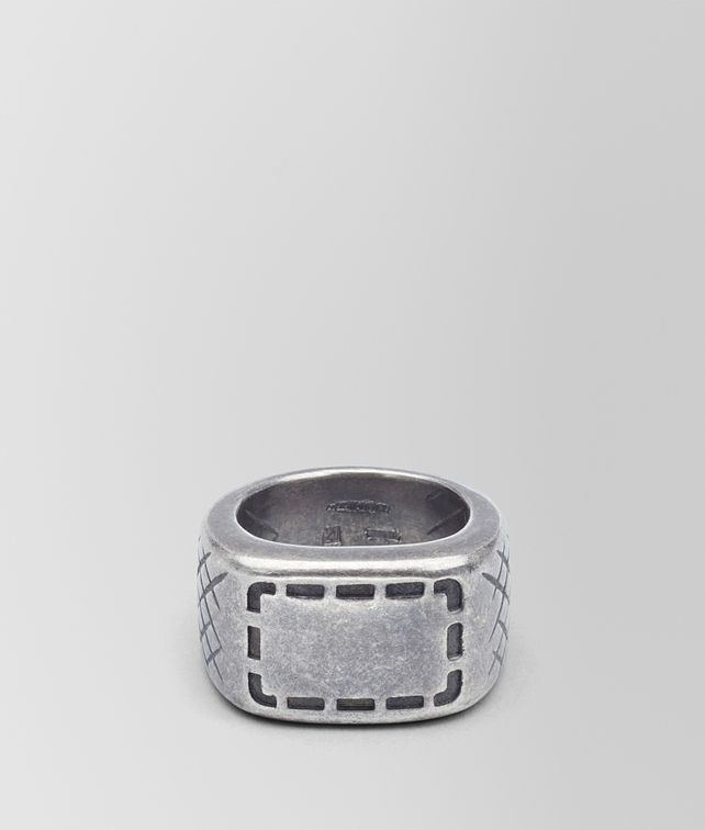 BOTTEGA VENETA RING IN SILVER WITH SELLERIA MOTIF AND INTRECCIATO DETAILS Ring Man fp