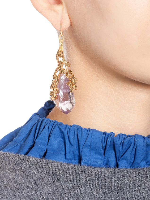 Marni Leverback earrings in amethyst and rhinestone Woman - 2