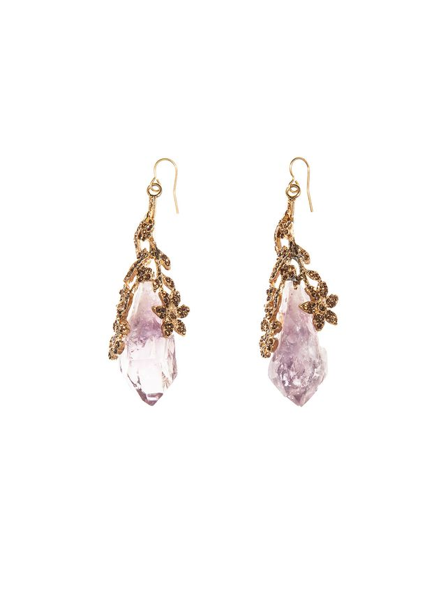 Marni Leverback earrings in amethyst and rhinestone Woman - 1