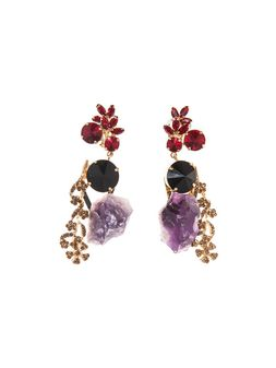 Marni Runway clip-on earrings in amethyst and rhinestone Woman