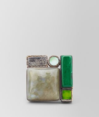 RING IN MULTI GREEN GEMSTONES AND ENAMEL SILVER, YELLOW GOLD ACCENTS