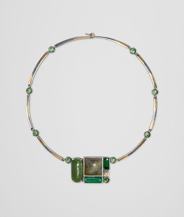 BOTTEGA VENETA NECKLACE IN MULTI GREEN GEMSTONES AND ENAMEL SILVER, YELLOW GOLD ACCENTS Necklace [*** pickupInStoreShipping_info ***] fp