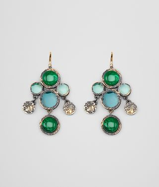 EARRINGS IN MULTI GREEN GEMSTONES AND ENAMEL SILVER, YELLOW GOLD ACCENTS