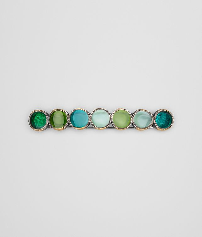 BOTTEGA VENETA HAIR CLIP IN MULTI GREEN ENAMEL SILVER, YELLOW GOLD ACCENTS Other Silver Accessory D fp