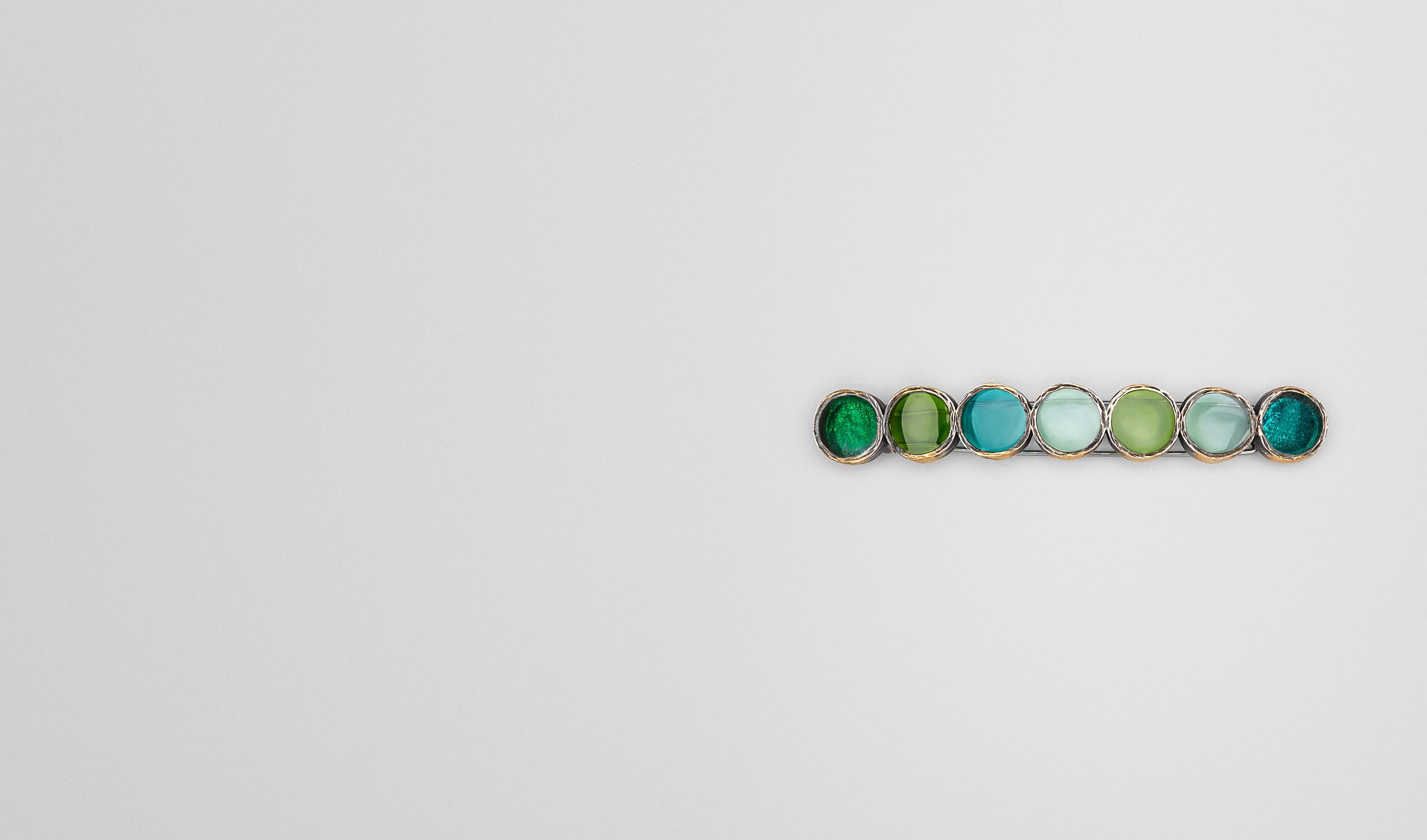 BOTTEGA VENETA Bracelet D HAIR CLIP IN MULTI GREEN ENAMEL SILVER, YELLOW GOLD ACCENTS pl