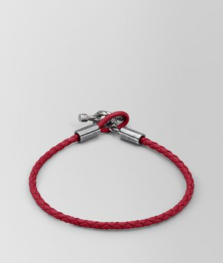 BRACELET IN CHINA RED INTRECCIATO NAPPA AND SILVER