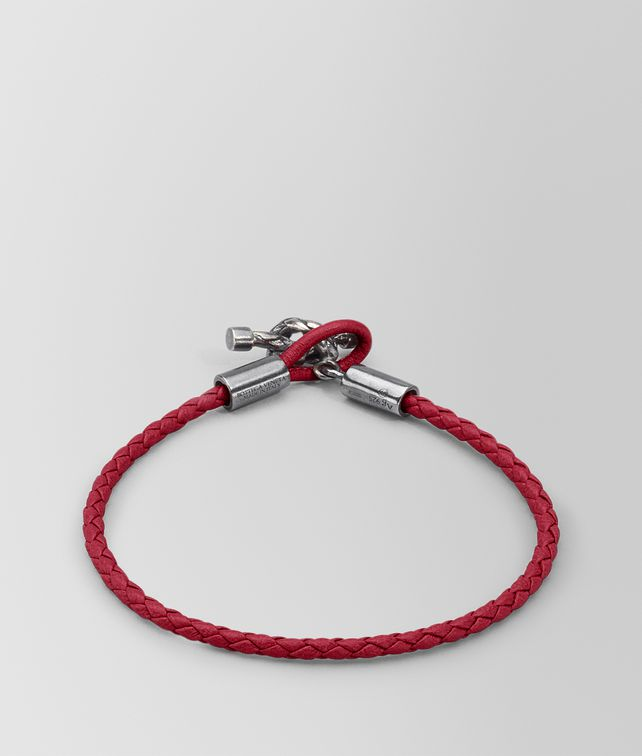 BOTTEGA VENETA BRACELET IN CHINA RED INTRECCIATO NAPPA AND SILVER Bracelet Woman fp