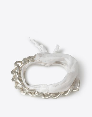 MAISON MARGIELA 11 Bracelet U Silk ribbon and silver bracelet f