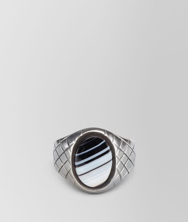 BOTTEGA VENETA RING IN SILVER STRIPED AGATE STONES, INTRECCIATO DETAILS Ring Man fp
