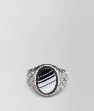 RING IN SILVER STRIPED AGATE STONES, INTRECCIATO DETAILS