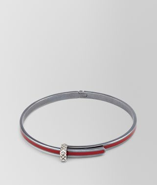 BRACELET IN CHINA RED SILVER ENAMEL, INTRECCIATO DETAILS