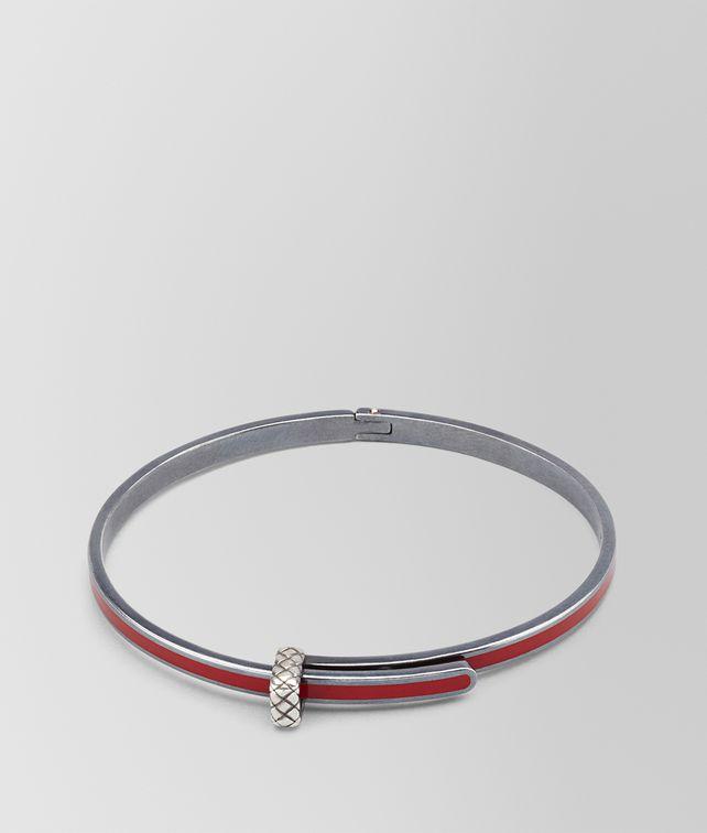 BOTTEGA VENETA BRACELET IN CHINA RED SILVER ENAMEL, INTRECCIATO DETAILS Bracelet D fp
