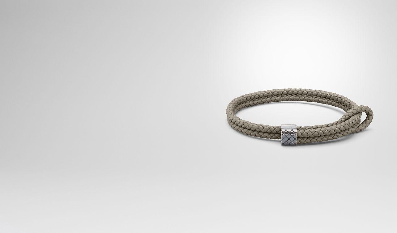 bracelet in fume intrecciato nappa and silver landing