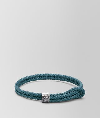 深蓝色编织小羊皮和银质手链