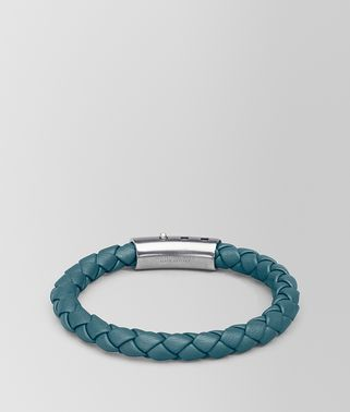 深蓝色编织小羊皮银手环
