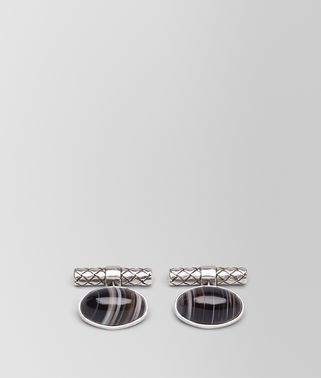CUFFLINKS IN SILVER STRIPED AGATE STONES, INTRECCIATO DETAILS