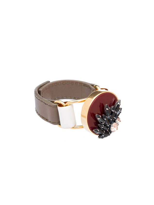 Marni Bracelet in leather and rhinestone Woman - 3