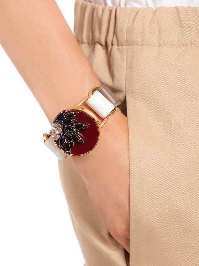 Marni Bracelet in leather and rhinestone Woman - 2