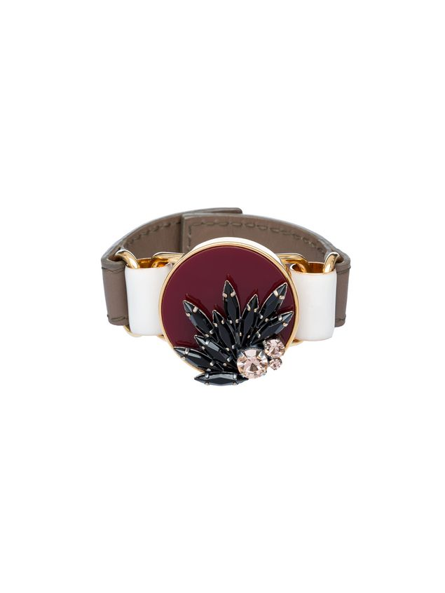 Marni Bracelet in leather and rhinestone Woman - 1