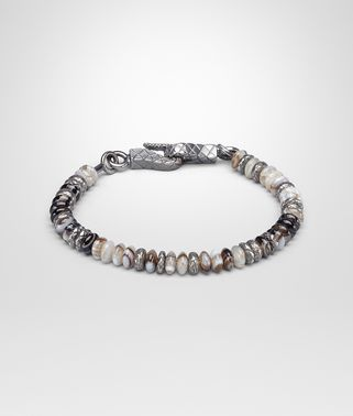 BRACELET IN SILVER STRIPED AGATE STONES, INTRECCIATO DETAILS