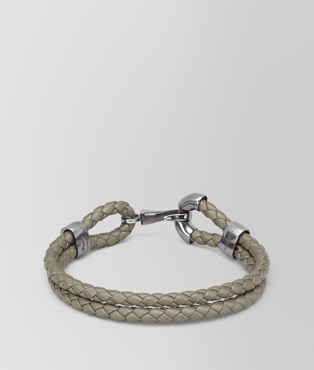 BOTTEGA VENETA BRACELET IN FUME INTRECCIATO NAPPA AND SILVER Bracelet Man fp