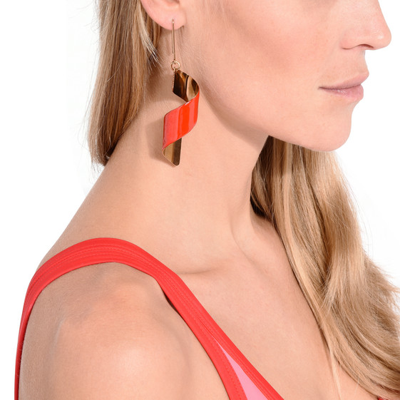 Red Spiral Earring