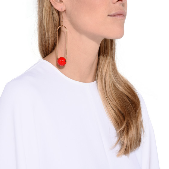 Red Suspended Drop Earring